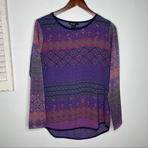 Desigual Long Sparkly Sleeves Blouse Size Large